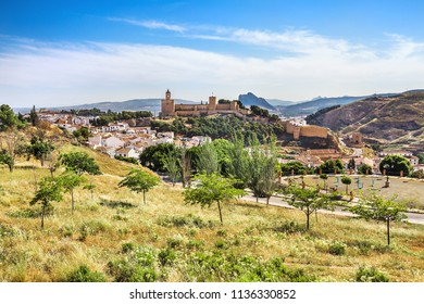 View of the city of Antequera, the ancient fortress of Alcazaba and the mountain of lovers