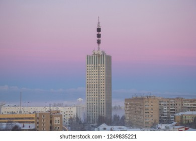 View of the city of Arkhangelsk in the early morning