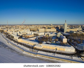 A view of the city of Arkhangelsk. Historical drawing-room courtyards and embankment. Russia, Arkhangelsk