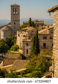View of the city of Assisi and the St Peters Abbey, in the region of Umbria, Italy.