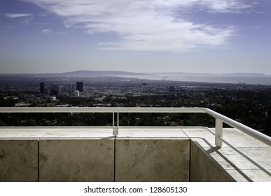 view of a city from a balcony