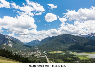 View of City of Banff and Sundance Peak and Goatview Peak from Mount Norquay LookOut point at Banff National Park Alberta Canada