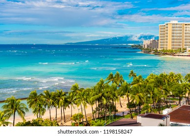 View of the city beach in Honolulu, Hawaii. Copy space for text