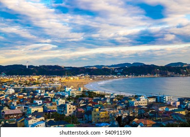 View of the city and beach of Kamakura in Kanagawa Prefecture near the Pacific ocean, Japan