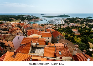 View of the city from the bell tower Vrsar St. Anthony's Church, Croatia.