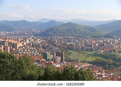 View of city Bilbao from Artxanda viewpoint, Spain
