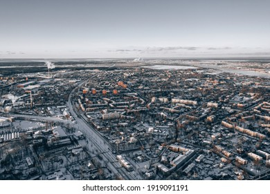 View at city from bird sight. City from drone. Aerial photo. City scape from drone