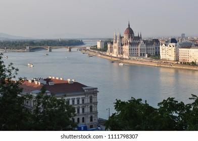 View of city of Budapest with river Danube, summertime tourist destination