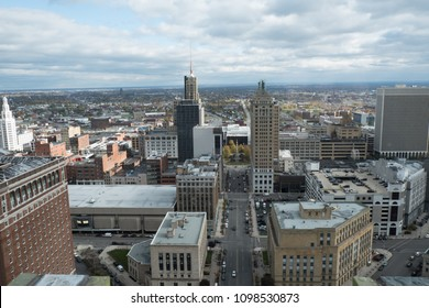 View of the city of Buffalo New York from a tall building. Overlooking Buffalo, NY from above. View of urban Buffalo in upstate New York before a rainstorm. View of downtown Buffalo, NY.
