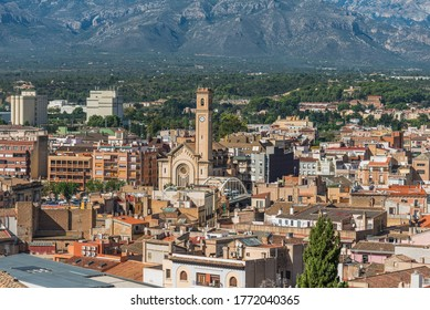 View of city buildings in the daytime, Tortosa, Catalonia, Tarragona, Spain