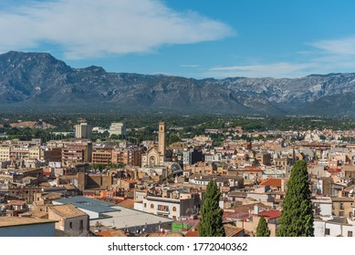 View of city buildings on a background of mountains, Tortosa, Catalonia, Tarragona, Spain