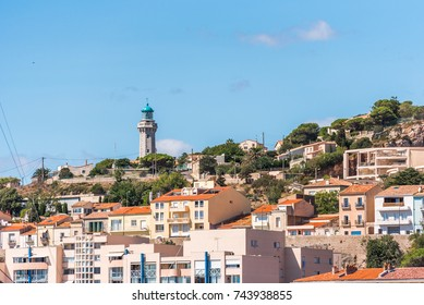 View of city buildings, Sete, France. Copy space for text