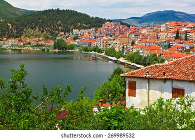 view of the city by the lake Orestiada. Kastoria, Greece