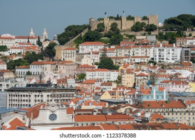 View of the city and the castle of Saint George in Lisbon, Portugal