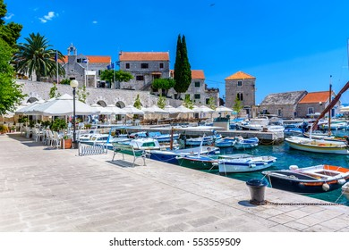 View at city center of mediterranean town Bol, famous touristic destination on Island Brac, Croatia european travel destination. / Selective focus.