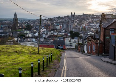 View of the city of Cork in southern Ireland during the sunset.
