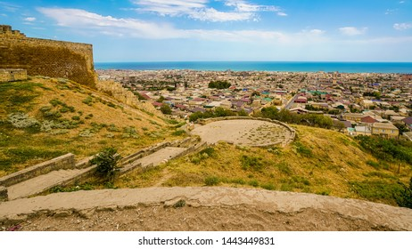 View of the city of Derbent from the southern part of the Naryn-Kala fortress. In the center is an observation deck