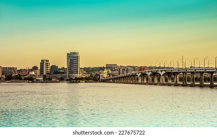 View of city Dnepropetrovsk and river Dnepr on Ukraine.