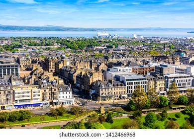 View of the city of Edinburgh and the Firth of Forth waterway, taken from the Edinburgh Castle.