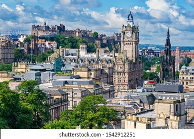 View of the city of Edinburgh in Scotland including several of its famous landmarks
