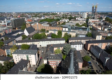 View of the city Frankfurt from the Frankfurt Cathedral in Germany