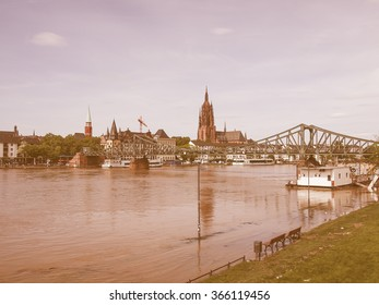 View of the city of Frankfurt am Main from the River Main vintage
