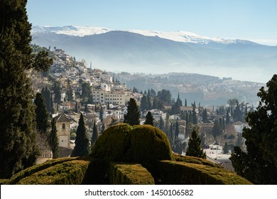 View of the city of Granada and Sierra Nevada in Andalusia, Spain, from the Rodriguez Acosta Foundation.