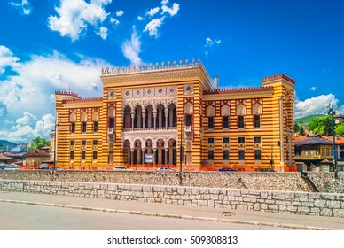 View at city hall in old town center of Sarajevo, landmark in capital of Bosnia and Herzegovina, Europe. / Sarajevo City Hall landmark. / Selective focus.