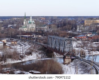 View of the city and the Holy Trinity Cathedral. Alapaevsk. Sverdlovsk region. Russia