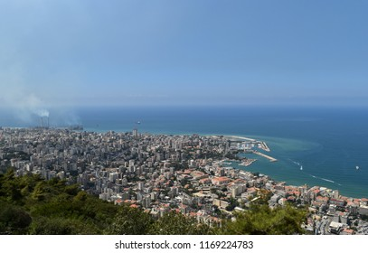 View of city of Jounieh and Kaslik, with a perspective on Beirut, Lebanon