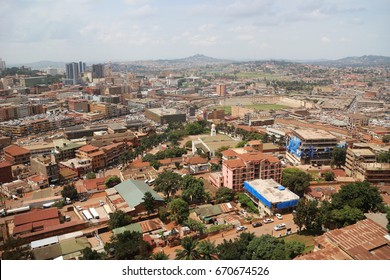 View of the city of Kampala. View from above from the minaret of the biggest mosque. JUNE 2016