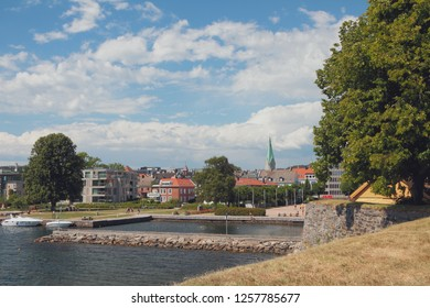 View of city from Kristiansholm. Kristiansand, Norway