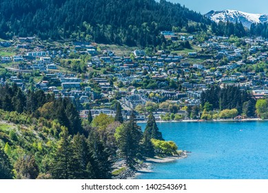 View of the city and the lake Wakatipu, Queenstown, New Zealand. Copy space for text. Top view