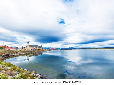 View of the city and landscape, Puerto Natales, Chile. Copy space for text