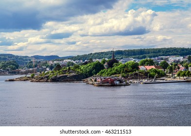 A view at the city of Larvik in Norway from a ferry