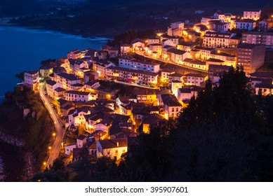 View of the city of Lastres at nightfall .II Asturias.Spain.Photographs updated in March 2016
