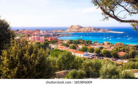 View of the City of L'Ile Rousse on Corsica, France, with Ile de la Pietra at a Distance