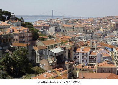 view of the city - Lisbon. Downtoun with a lot red roofs.