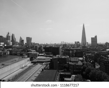 View of the City of London skyline in black and white