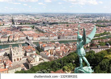 View of the city of Lyon from the hill of Notre Dame de Fourviere, France