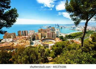 View of the city of Malaga, with the bullring and the Port.