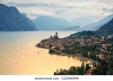 View at the city of Malcesine along with the Garda lake