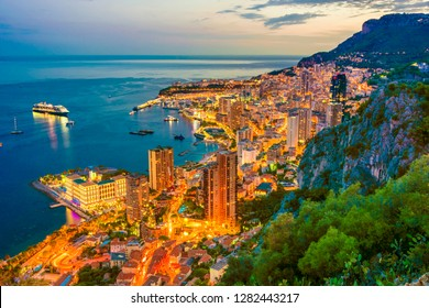 View of the city of Monaco on French Riviera after sunset.