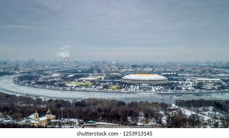 View of the city of Moscow in the winter from a height