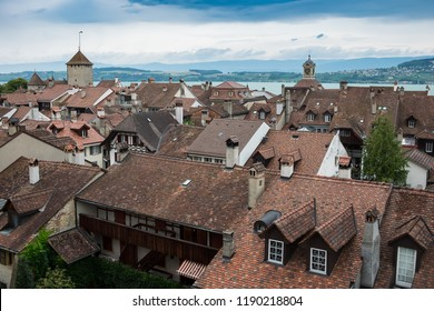 View of the city Murten in Swiss