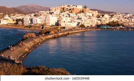 View of city of Naxos in Greece