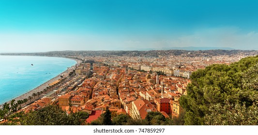 View of the city of Nice and the Bay of the Angels from the Castle Hill. Nice. France.