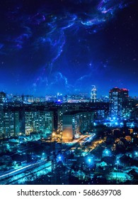 view of the city at night