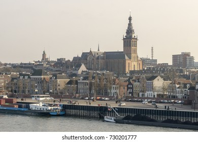 View of the city of Nijmegen looking at the Saint Stevens Cathedral with the river Waal in front (February 5, 2017)