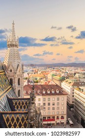 View of the city from the observation deck of St. Stephen's Cathedral in Vienna, Austria